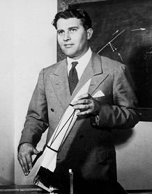 Young Wernher von Braun with Model V–2 Rocket. Courtesy of Wikimedia Commons.
