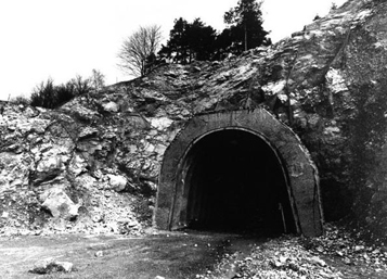 Present entrance to the tunnels and chambers of the rocket factory. Courtesy of Al Gilens.