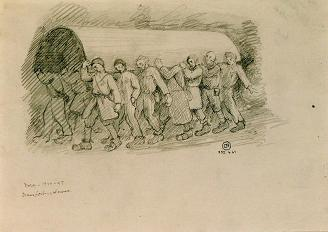 Drawing of Prisoners Dead by Starvation, by Dora Prisoner and Survivor Léon Delarbre. Courtesy of La Coupole History and Remembrance Centre.